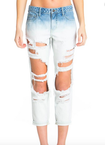 TDC Ombre Distressed Boyfriend Jean
