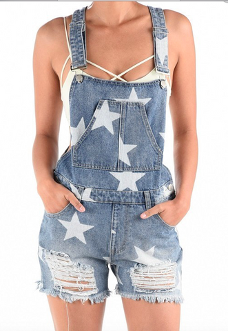 TDC Star Print Overall Shorts