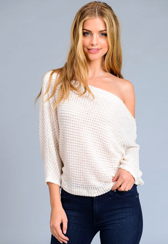 Le Lis loose fit knit top w haf sleeves