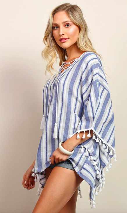 Tassels N Lace Poncho Style Top with Tassel Sleeve