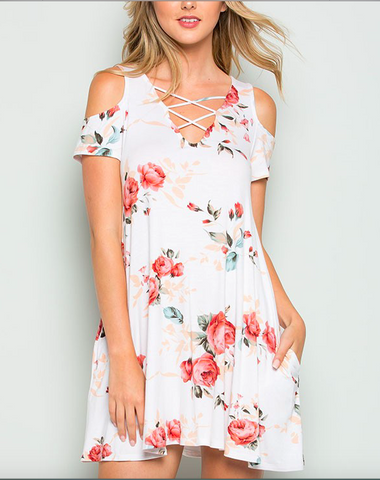 CY Fashion Floral Cold Shoulder Dress with Cage Detail