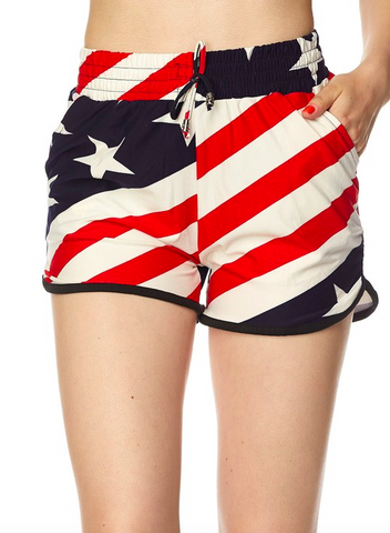 2NE1 Apparel American Flag Print Drawstring Dolphin Shorts with Pockets.