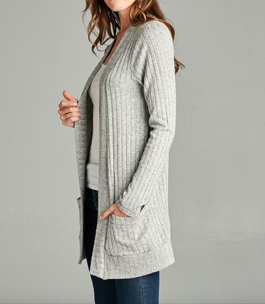 Staccato ribbed cardigan w front pockets