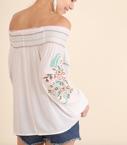 Umgee Off the Shoulder top w Embroidery