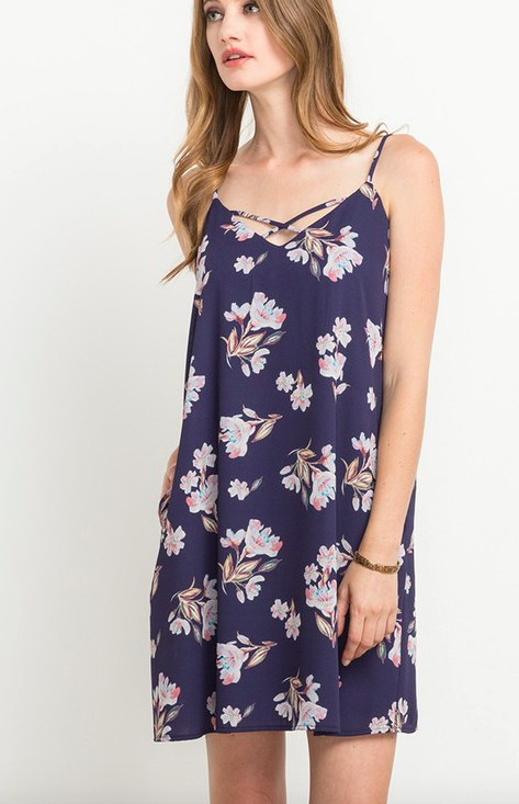 Mittoshop Floral Print Cross Front Dress