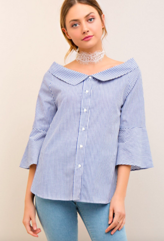 Entro striped button-down blousew/ off-shoulder shirt collar.