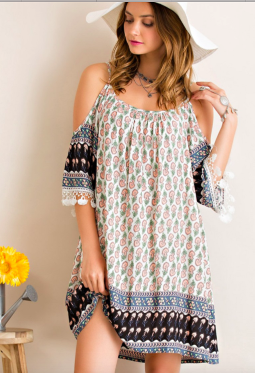 Entro border print, open shoulder dress w/lace edged sleeves.