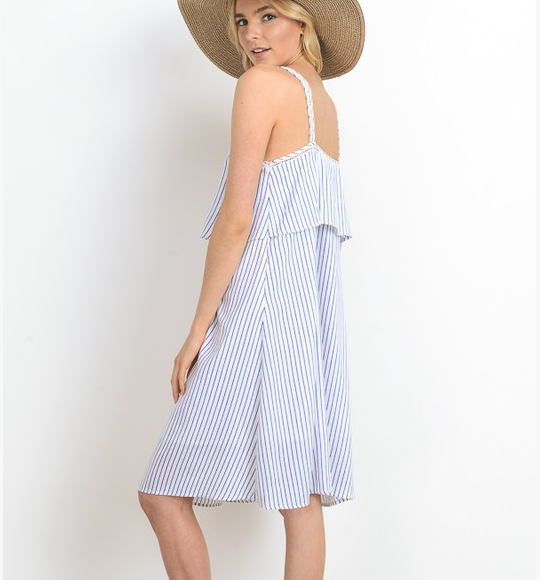 Doe&Rae stripe button down dress w front tie