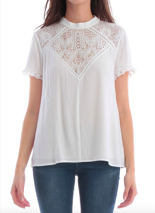 Skies are Blue Lace Embroidery Top