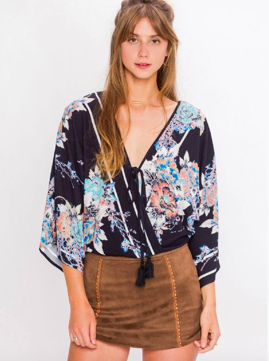 Flying Tomato cherry blossom print wrap blouse
