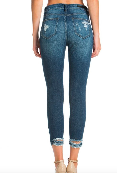 Cello High Waisted Distressed Step Hem Jeans