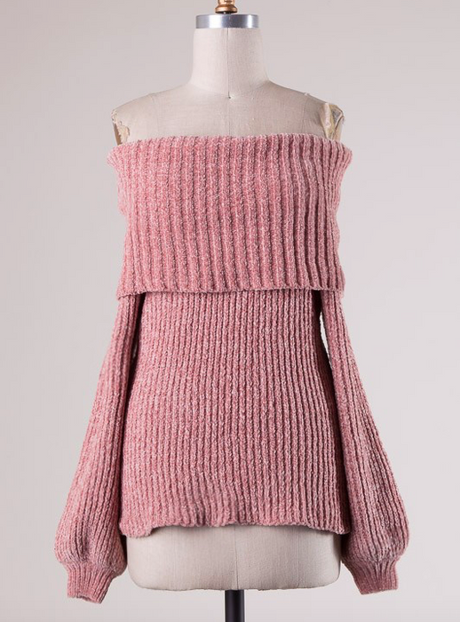 HYFVE Soft Ribbed Off Shoulder Sweater