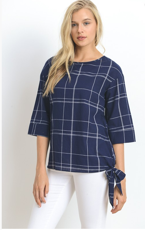 Doe&Rae plaid top w side tie