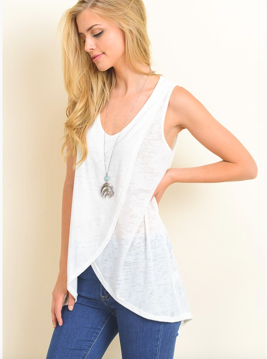 Hopely sleeveless top w front cross detail