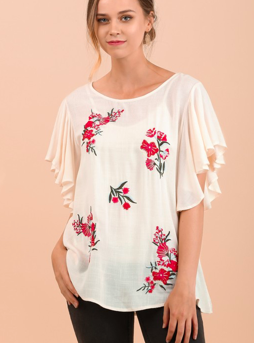 Umgee embroidered top w ruffle sleeves