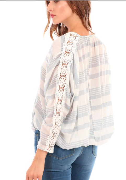 Hummingbird wrap blouse w lace detail