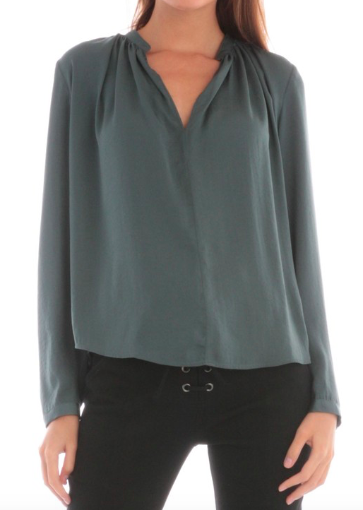 Current Air Dull Satin Blouse w/ Neck Shirring