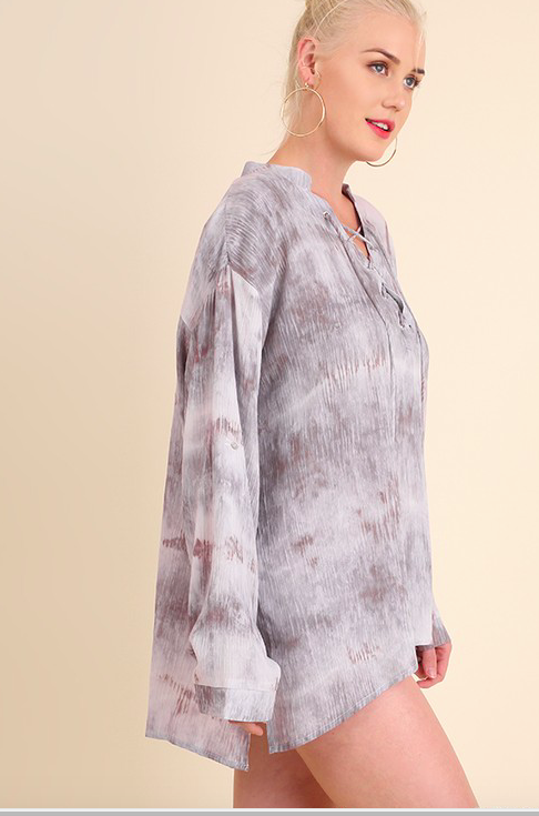 Umgee tie dyed drawsting neckline top