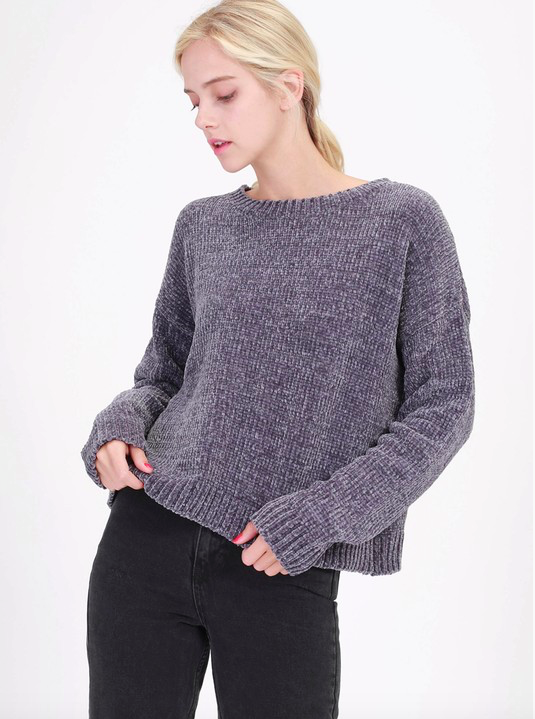 Double Zero Round Neck Chenille Sweater