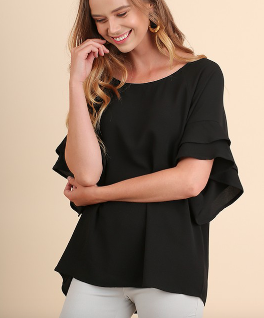 Umgee blouse w layered ruffle sleeve