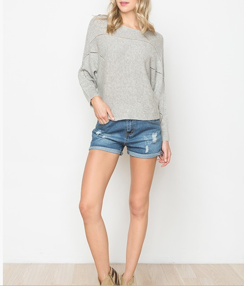 Monoreno crochet sweater w dolman sleeves