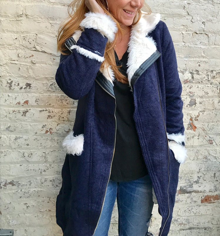 Below the knee fleece lined jacket with pockets. The ultimate in soft an...