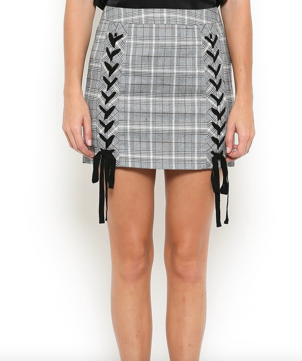 Illa Illa Checked Skirt w/ Lace Up Detail
