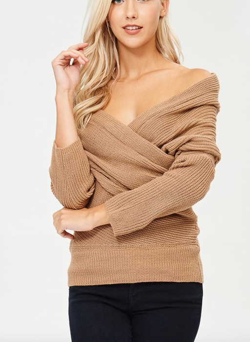 American Fit Off Shoulder Surplice Sweater