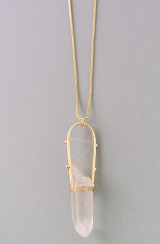 Fame Elongated Crystal Stone Pendant Necklace.