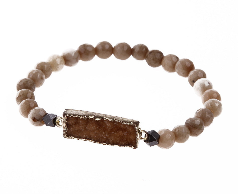 Nakamol simple beaded bracelet with rectangle stone pendant