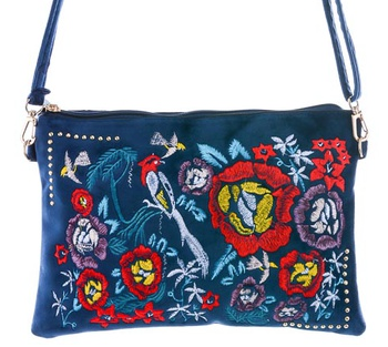 Fame navy clutch with floral embroidery
