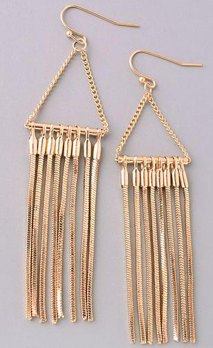 Fame triangle earrings with dangle chains