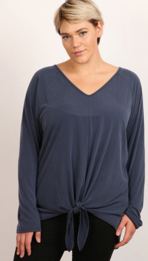 Hummingbird long sleeve top with front tie