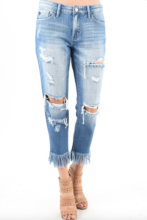 KanCan Destroyed Fringe Hem Jeans