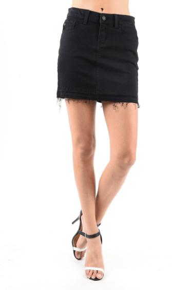 KanCan Denim Mini Skirt w/ Frayed Hem