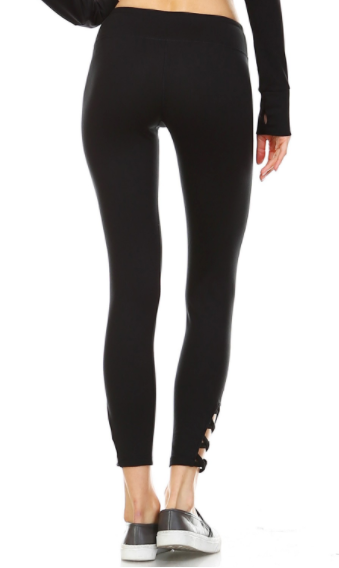 Mono B leggings w/strappy crisscross cutouts