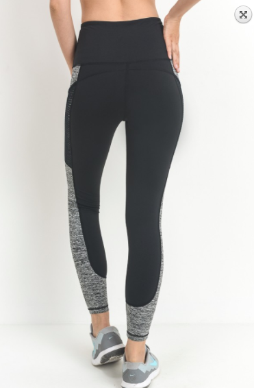 Mobo B leggings w/slanted dot mesh pockets