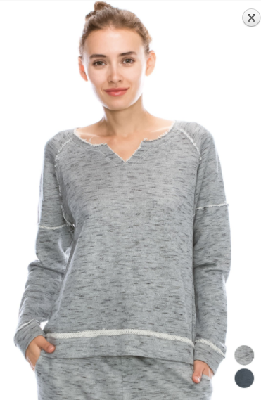 Mono B French terry knit w/ raglan sleeves