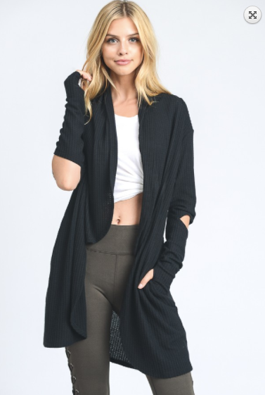 Mono B open cardigan w/cut-out elbows & thumb holes