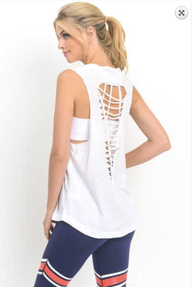 Mono B inverse triangle cut-out back tank