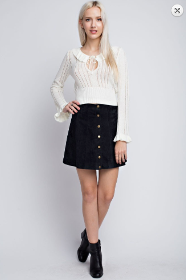 Honey Punch Knit Perforated Sweater w/ Keyhole