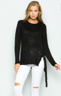 Cezanne side ribbed top w buckle