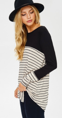Cezanne long sleeve stripe top w button detail