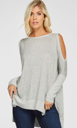 Cezanne hi lo cold shoulder sweater