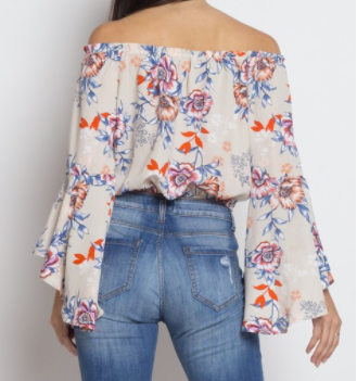 Iris off shoulder floral shirt w bell sleeves