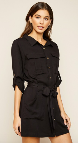 Hayden button up dress with waist tie