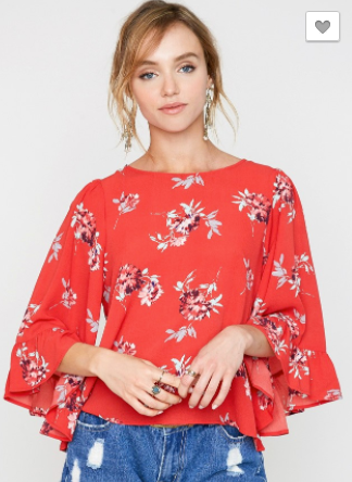 Hayden floral top with ruffle sleeves