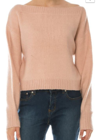O&O Cropped Boat Neck Sweater/