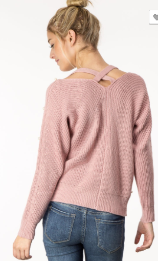 M2 Collection Pearl Embellished Sweater