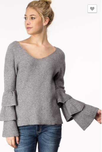 M2 Collection Vneck Ruffle Sleeve Sweater